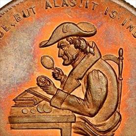 coin with a man looking through a magnifying glass